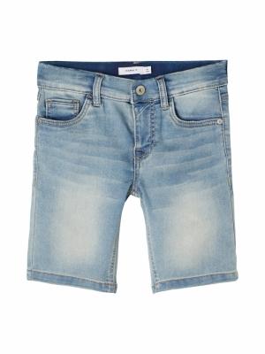 130225 Denim long shorts logo